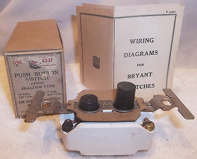 Nos Antique Bryant Push Button Light Switch New In The Box Unused