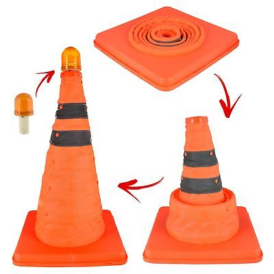 Portable Pop-up Emergency Traffic Safety Cone Hi Vis Orange Flashing LED Light