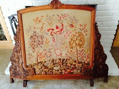 """Petit Point """"antique"""" 100 Year Old French Fireplace Screen"""