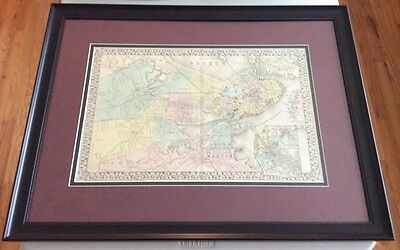 """Antique Map """"Plan of Boston"""" 1875 by A. Mitchell - Authenticated Framed & Matted"""
