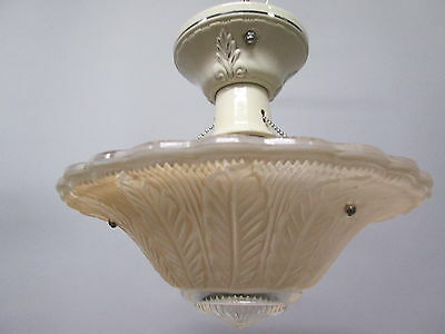 "Vintage Art Deco Depression Era Peach Feather Chandelier Light Fixture 10"" Long"