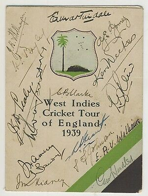 Signed West Indies Cricket Tour Of England 1939 Fixture Card,original Autographs