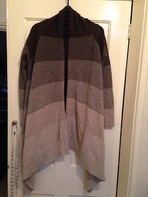 Mamas And Papas Lambswool Striped Lagenlook Cardigan Size 12/14
