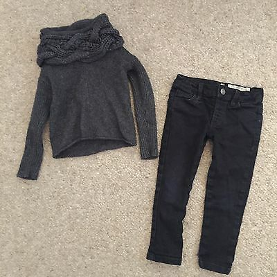 All Saints Outfit Black Skinny Jeans Grey Knit Roll Neck Jumper Top Girls 1 2 3