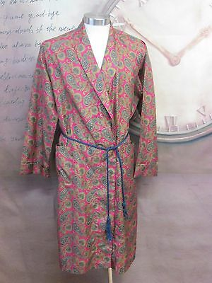 Vtg Retro Canda Size 40 Red Paisley Sherlock Smoking Belted Dressing Gown T65