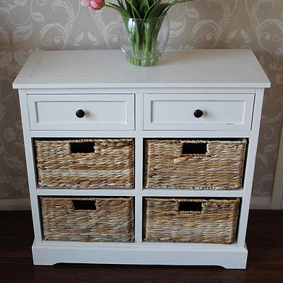 Ivory Wicker Storage Unit Two Drawer Four Baskets chest of drawers distressed