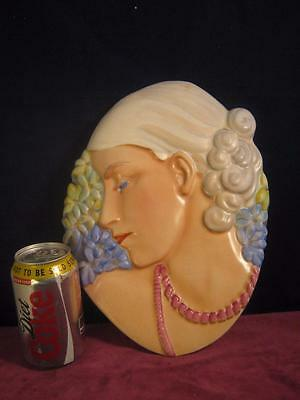 Rare  Beswick Art deco Lady with Beads /  Hyacinth Lady Wall Hanging / Plaque
