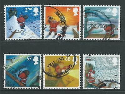 Set of 6 good used GB Christmas 2004 Commemorative stamps SG2495-2500.
