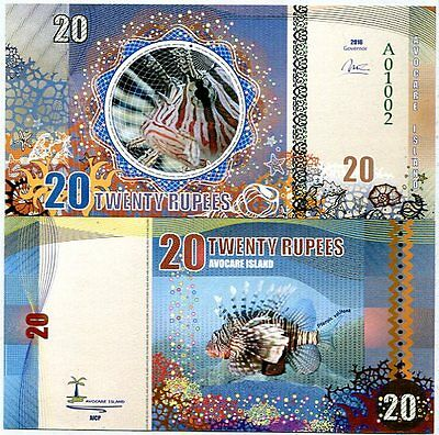 Avocare Island 20 rupees 2016 UNC Lionfish Private Issue