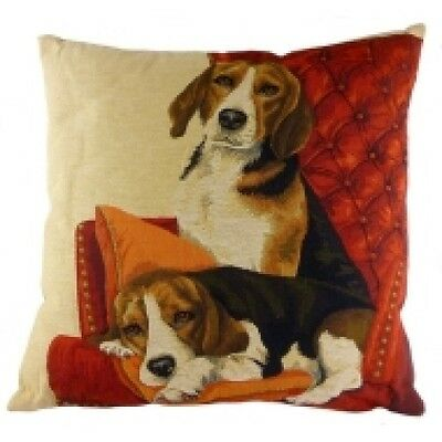 Beagles on Chair Tapestry Dog Cushion By Evans Lichfield