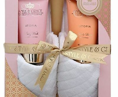 Style &Grace Utopia Indulgent Cosy Slipper Body Lotion Body Wash Gift Set