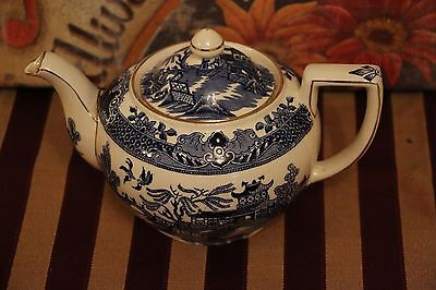 Vintage Burleigh Ware - Willow Pattern - Teapot - 1930's - Gilded
