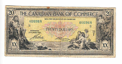 ✪ $20 Canadian Bank of Commerce Bank Note - Small Logan Signature - VG+