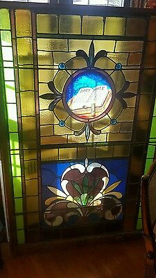 stunning antique large stained glass church holy bible window 1800s
