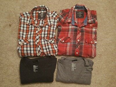 Lot of 4 Men's H&M Shirts - T-shirt, button up, long sleeve Size Small & Medium