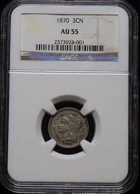 1870 United States 3 Cent Nickel Certified NGC AU 55