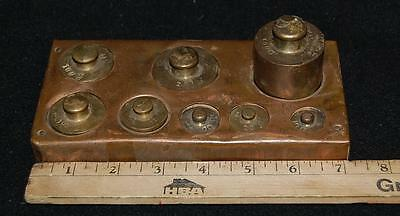 vintage antique brass scale weight set of 8 from 500 to 10 grams from France?