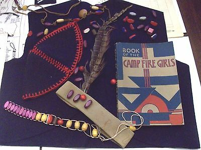 Campfire Girls Set: Vest Hat Handbook Honor Beads Patches Crafting Guides 1943