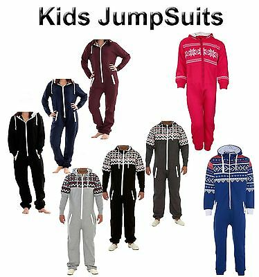 New Kids Boys Girls Plain Print Stripes Hooded Aztec All In One Jumpsuits