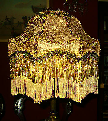 """Bloomsbury A Victorian Downton  Beaded Lampshade,gold Chenille Brocade 14"""""""