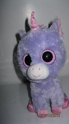 """TY BEANIE BOOS RAINBOW  6"""" UNICORN - Purple NO HANG TAG Great Eyes EXCELLENT"""