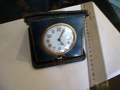 Schild & Co Swiss Made Folded Clock 8 Days Clock With Black  Leather Case