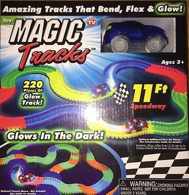 Magic Tracks Set  bend Flex Racetrack Glowing Colors - As Seen On TV -blue