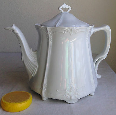 "Tirschenreuth Bavaria ""Baronesse"" Teapot Porcelain White 6.75"" Tall Germany"