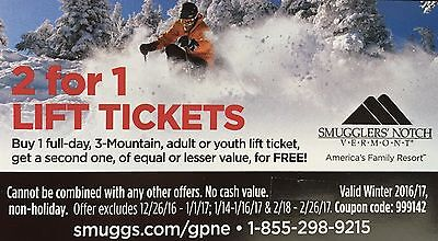 Smugglers' Notch 2 For 1 Lift Ticket Voucher