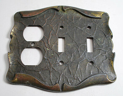 Vintage Leather Metal Brass Amerock Electrical Wall Outlet Switch Plate