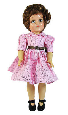 """Pink Dotted Vintage Shirt Doll Dress, Clothes for P-91 Toni, 14"""" Rosette,"""