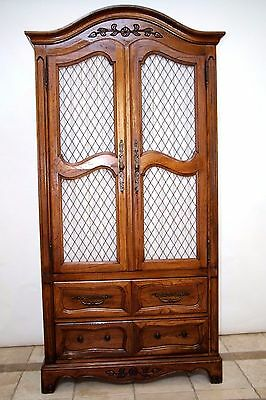 Vintage French Walnut Carved Armoire by Hickory Furniture Co