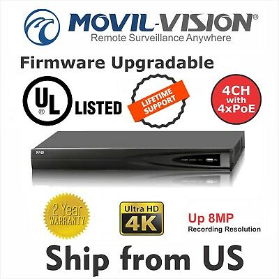 4 CH Network Video Recorder HD 1080P NVR DS-7604NI-E1/4P 4x POE Hikvision OEM