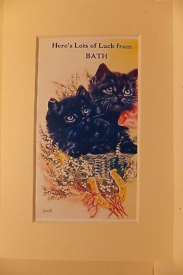 Reprint Good Luck Two Black Kittens And White Heather  Postcard