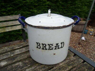 vintage/retro round enamel bread bin with lid