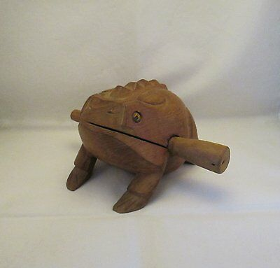 Hand Carved Hardwood Large Hollow Frog Rattle Percussion Musical Instrument