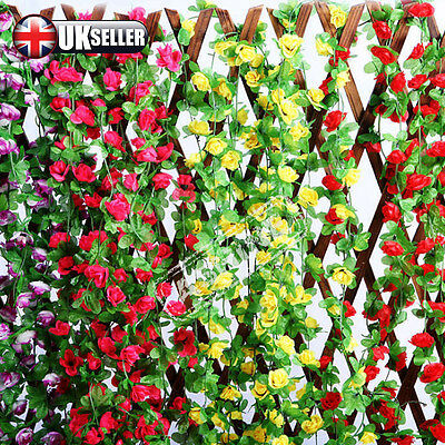 7.54ft Artificial Rose Ivy Flower Leaf Garland Plants Fake Foliage Vine Wedding