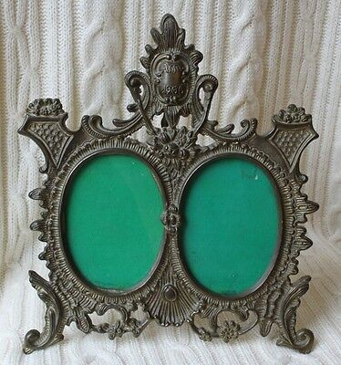 Antique Victorian 1906 Ornate Bronze Metal Easel Back Double Picture Frame