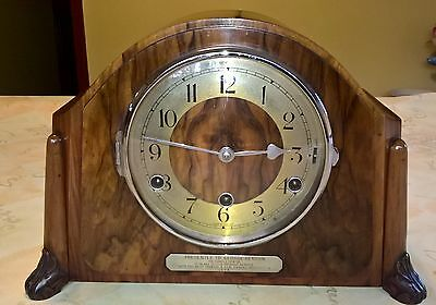 Vintage Perivale Mantle Clock and Key in working condition