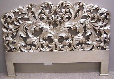 Reproduction Mahogany French Rococo Style 5' Carved Silver Head Board Brand New