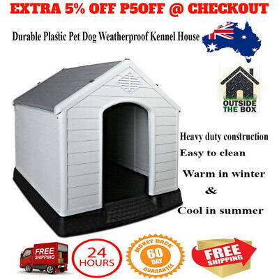 Large Durable Heavy Duty Plastic Pet Dog Cat Weatherproof Kennel House Grey 99cm