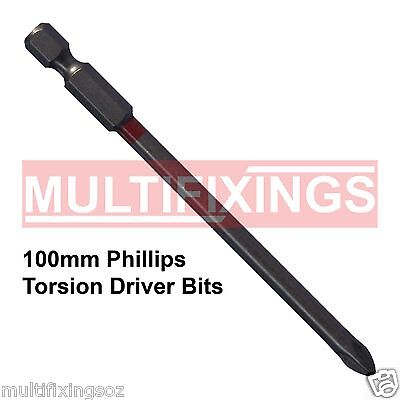 5pcs x 100mm Powers Magnetic Torsion Phillips PH2 Head Driver Bit