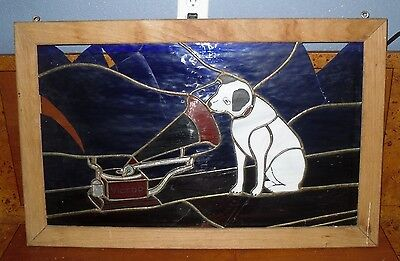 """Wooden Framed Stained Glass Hand Painted Picture """"Victor"""" Dog Art - Broken Parts"""