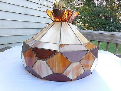 Vintage Stained Slag Glass brown & Caramel Hanging ART DECO Ceiling Swag Lamp