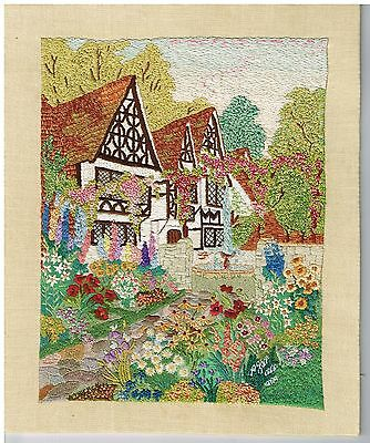 Beautifully Embroidered Vintage Picture Panel Cottage Garden Flowers Trees