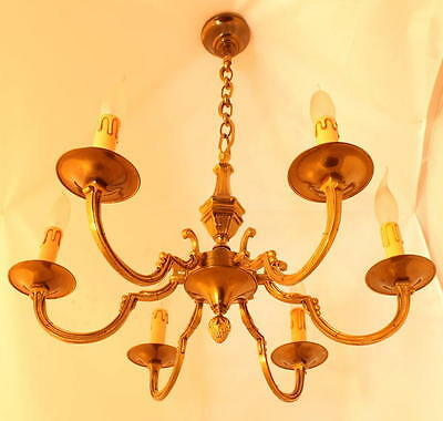 Substantial French Vintage Brass Bronze Chandelier Empire Neo Classical Style