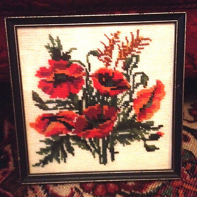 Framed Vintage Needlepoint Picture Red Poppies