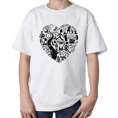 Famous London love heart fashioned Big Ben swag style kids unisex t shirt white