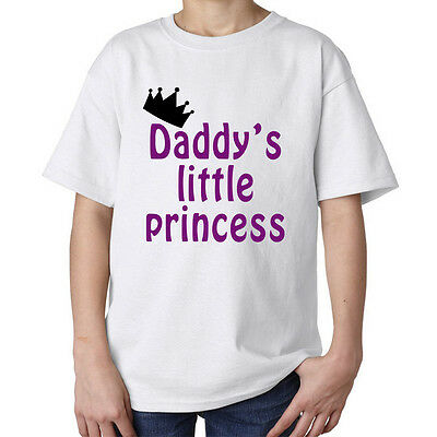 Daddy's little princess crown fashioned stylish top kids unisex t shirt white
