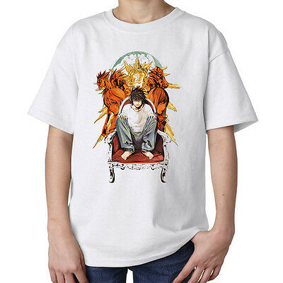Death note characters L Laito inspired artwork anime kids unisex t shirt white
